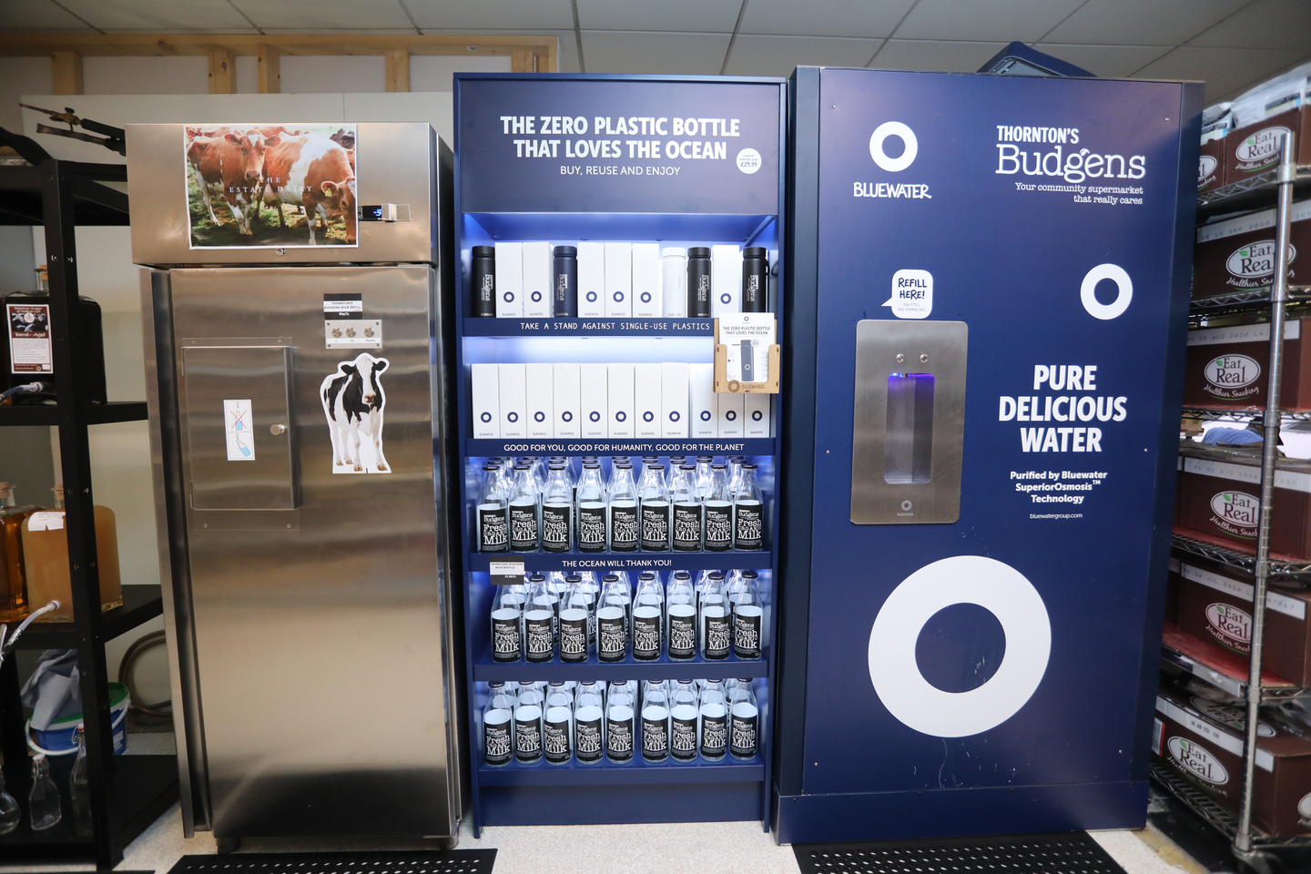 At Thornton's Budgens, reducing plastic means having customers buy glass bottles and fill water from a tap.