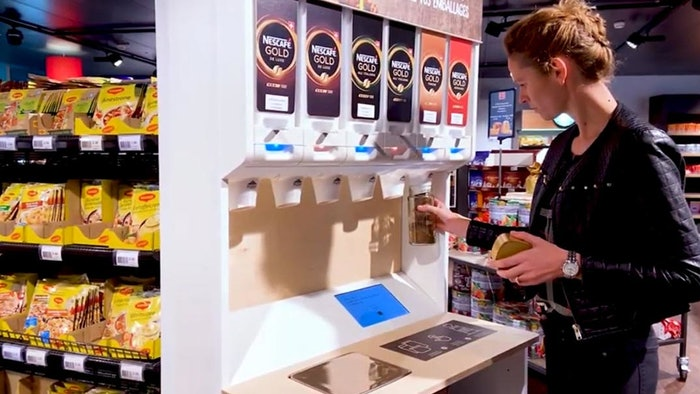 Nestlé is piloting reusable and refillable dispensers for pet food and soluble coffee products as part of its efforts to reduce single-use packaging.