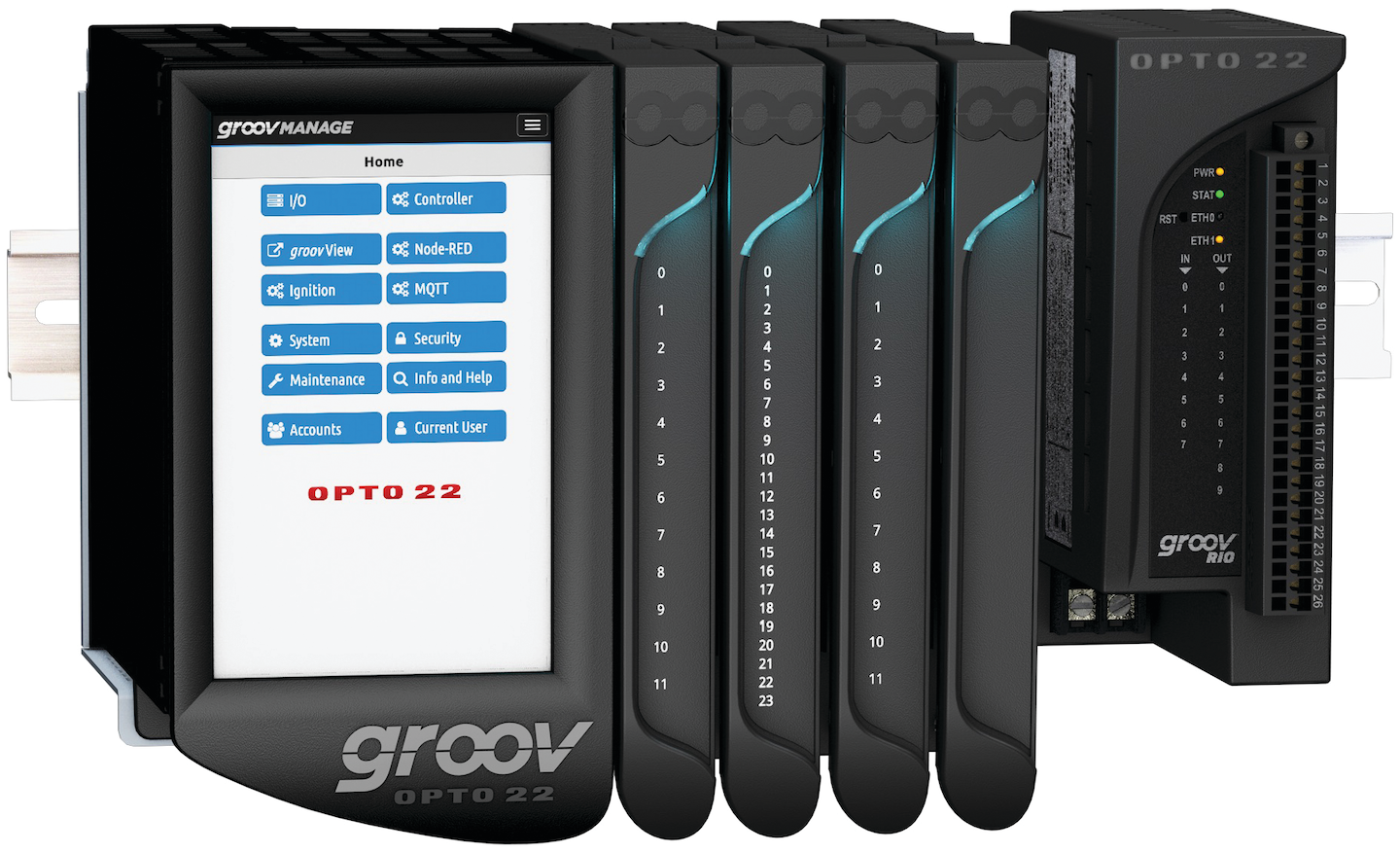 Opto 22's groov EPIC edge programmable industrial controller and groov RIO edge I/O module.